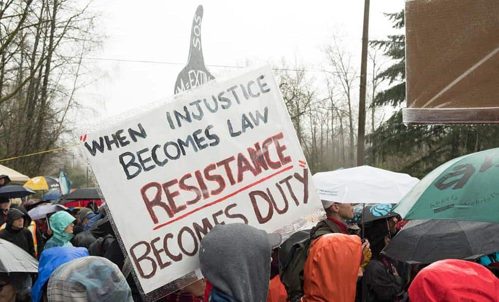 Kinder Morgan protest sign - Resistance becomes duty
